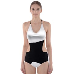 English Setter Silo Black Cut-Out One Piece Swimsuit