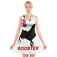 Year of the Rooster - Chinese New Year V-Neck Sleeveless Skater Dress