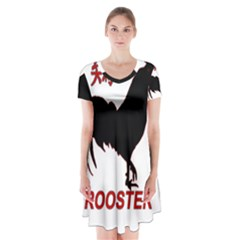 Year of the Rooster - Chinese New Year Short Sleeve V-neck Flare Dress