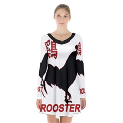 Year of the Rooster - Chinese New Year Long Sleeve Velvet V-neck Dress