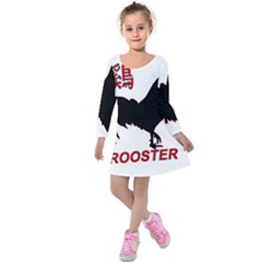 Year of the Rooster - Chinese New Year Kids  Long Sleeve Velvet Dress