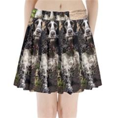 Black Roan English Cocker Spaniel Pleated Mini Skirt