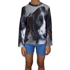 Black Roan English Cocker Spaniel Puppy Kids  Long Sleeve Swimwear