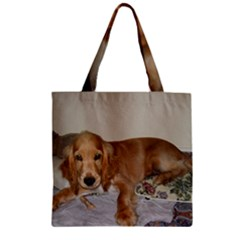 Red Cocker Spaniel Puppy Zipper Grocery Tote Bag