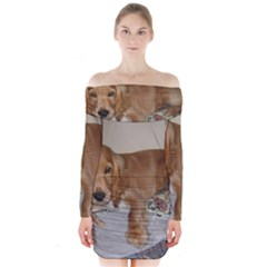 Red Cocker Spaniel Puppy Long Sleeve Off Shoulder Dress