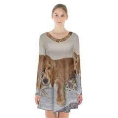 Red Cocker Spaniel Puppy Long Sleeve Velvet V-neck Dress