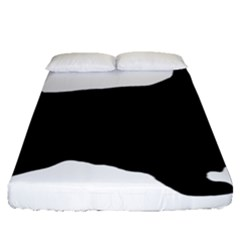 English Cocker Spaniel Silo Black Fitted Sheet (Queen Size)