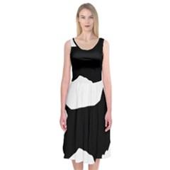 English Cocker Spaniel Silo Black Midi Sleeveless Dress