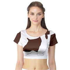 English Springer Spaniel Silo Color Short Sleeve Crop Top (Tight Fit)
