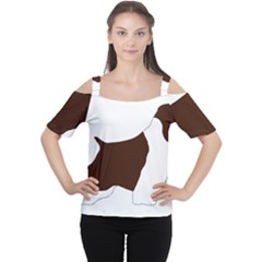 English Springer Spaniel Silo Color Women s Cutout Shoulder Tee