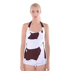 English Springer Spaniel Silo Color Boyleg Halter Swimsuit