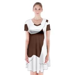 English Springer Spaniel Silo Color Short Sleeve V-neck Flare Dress