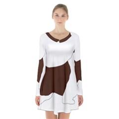 English Springer Spaniel Silo Color Long Sleeve Velvet V-neck Dress