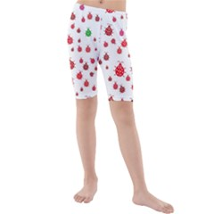 Beetle Animals Red Green Fly Kids  Mid Length Swim Shorts
