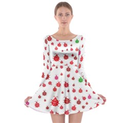 Beetle Animals Red Green Fly Long Sleeve Skater Dress