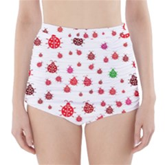 Beetle Animals Red Green Fly High Waisted Bikini Bottoms