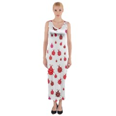 Beetle Animals Red Green Fly Fitted Maxi Dress