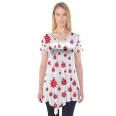 Beetle Animals Red Green Fly Short Sleeve Tunic