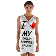 Eng Spr Sp Love Wrap Front Bodycon Dress