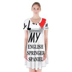Eng Spr Sp Love Short Sleeve V-neck Flare Dress