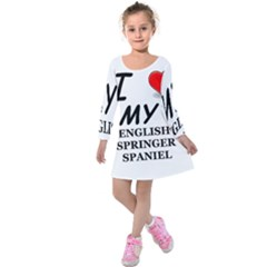 Eng Spr Sp Love Kids  Long Sleeve Velvet Dress