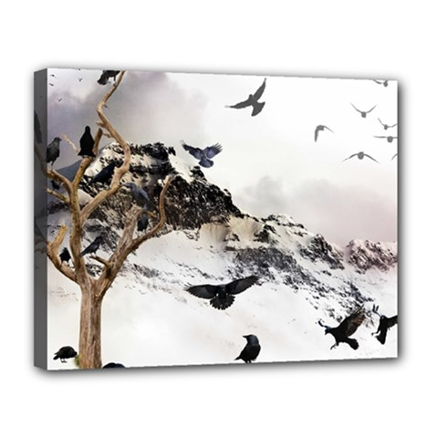 Birds Crows Black Ravens Wing Canvas 14  X 11