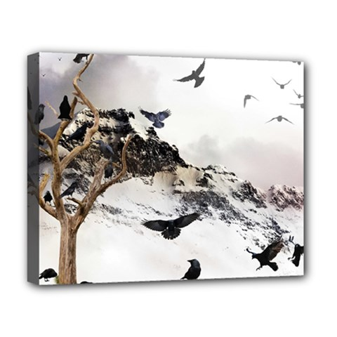 Birds Crows Black Ravens Wing Deluxe Canvas 20  X 16