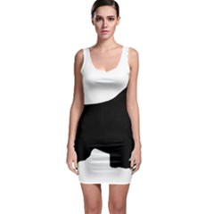 English Springer Spaniel Silo Black Sleeveless Bodycon Dress