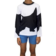 English Springer Spaniel Silo Black Kids  Long Sleeve Swimwear