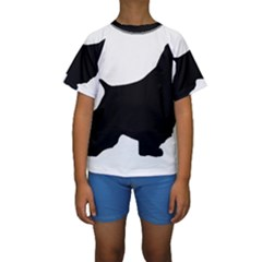 English Springer Spaniel Silo Black Kids  Short Sleeve Swimwear