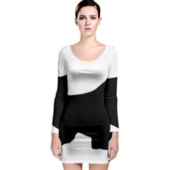 English Springer Spaniel Silo Black Long Sleeve Bodycon Dress