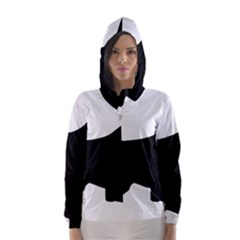English Springer Spaniel Silo Black Hooded Wind Breaker (Women)