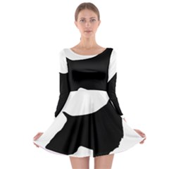 English Springer Spaniel Silo Black Long Sleeve Skater Dress
