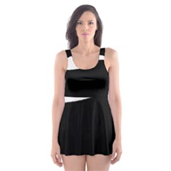 English Springer Spaniel Silo Black Skater Dress Swimsuit