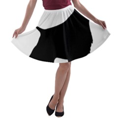 English Springer Spaniel Silo Black A-line Skater Skirt
