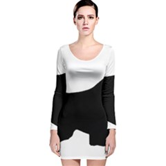 English Springer Spaniel Silo Black Long Sleeve Velvet Bodycon Dress