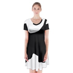 English Springer Spaniel Silo Black Short Sleeve V-neck Flare Dress