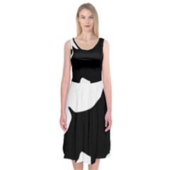 English Springer Spaniel Silo Black Midi Sleeveless Dress