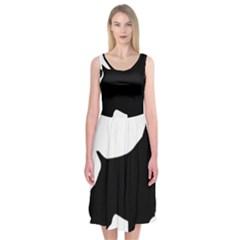 English Springer Spaniel Silo Black Midi Sleeveless Dress
