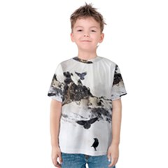 Birds Crows Black Ravens Wing Kids  Cotton Tee