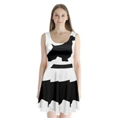 English Springer Spaniel Silo Black Split Back Mini Dress