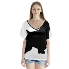 English Springer Spaniel Silo Black Flutter Sleeve Top