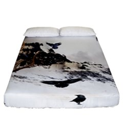 Birds Crows Black Ravens Wing Fitted Sheet (california King Size)