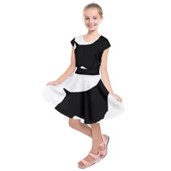 English Springer Spaniel Silo Black Kids  Short Sleeve Dress
