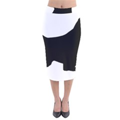English Springer Spaniel Silo Black Velvet Midi Pencil Skirt