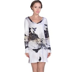 Birds Crows Black Ravens Wing Long Sleeve Nightdress