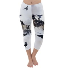 Birds Crows Black Ravens Wing Capri Winter Leggings