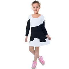 English Springer Spaniel Silo Black Kids  Long Sleeve Velvet Dress