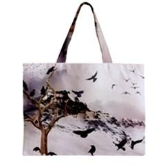 Birds Crows Black Ravens Wing Zipper Mini Tote Bag