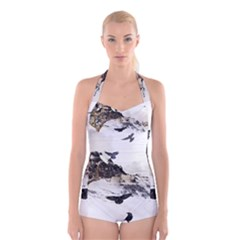 Birds Crows Black Ravens Wing Boyleg Halter Swimsuit